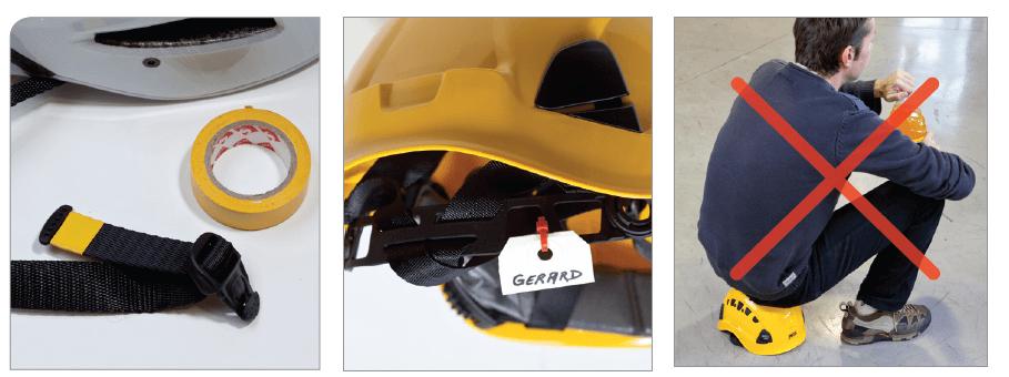 Onderhoudstips Helm hoofddeksel beschermingsmiddel PBM reparatietips labelen