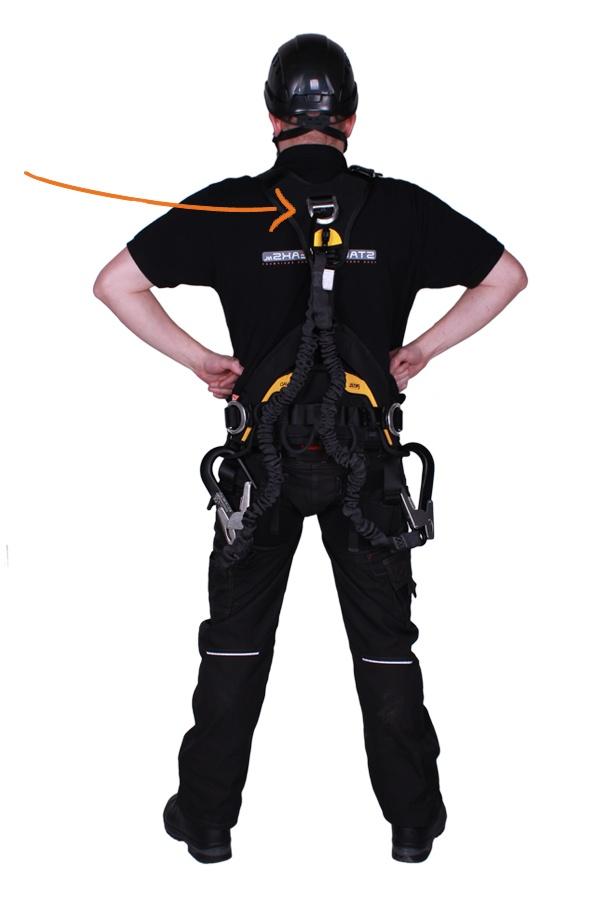 juiste plaatsing van valstopbeveiliging en leeflijn aan de voorzijde van het harnas