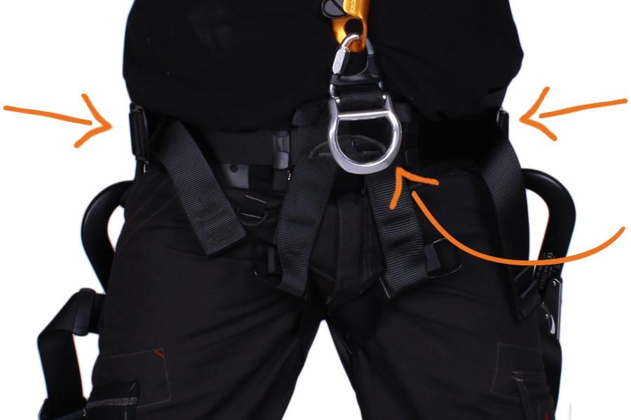 bevestigen van positioneringslijn, gereedschap en karbiners aan harnas