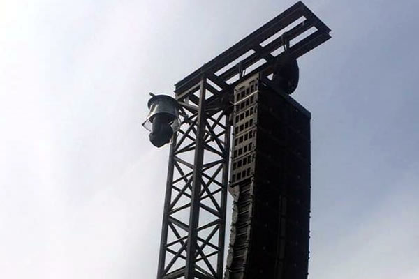 Geluidstoren van zwart staal